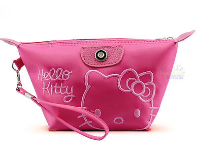 New Cute Hello Kitty Cosmetic Hand Bag Make-up Case Storage Bag Multi-Use