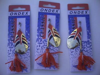 Set of Three World Famous Ondex Spinners. Size 6. Gold,Red & Black.