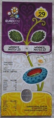 Mint TICKET 27.06.2012 Portugal - Spain UEFA EURO 2012 in Donetsk Match №29 rare