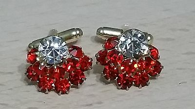 """Stunning Vintage Cuffllinks Gold Tone Clear With Red Rhinestones """"Huge Sparkle!"""""""