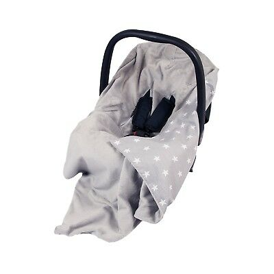 New Car Seat Baby Wrap - Travel Wrap / Car Seat Blanket - Grey & White Stars