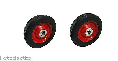 "Pack Of 2 X 6"" Solid Trolley Wheels - 16Mm Roller Bearings Metal Centre (6X1.5)"