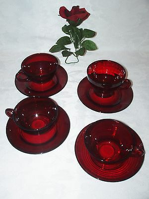 Vge Anchor Hocking Ruby Red Cup Saucer SET of 4 Cups 4 saucers