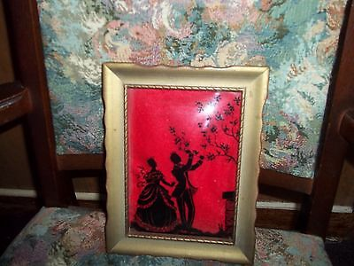 vintage glass picture portrait painted on the glass man and women Early America?
