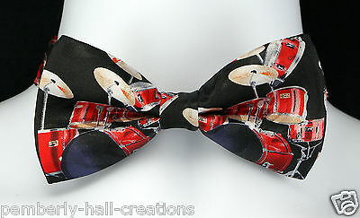 Red Drum Set Mens Bow Tie Adjustable Music Wedding Tuxedo Drummer Gift Him New