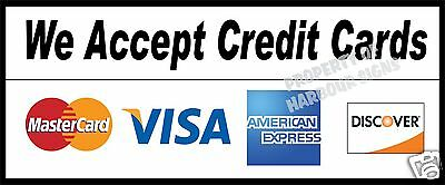 "We accept Credit Cards Decal 12"" Concession Food Truck Restaurant Business"