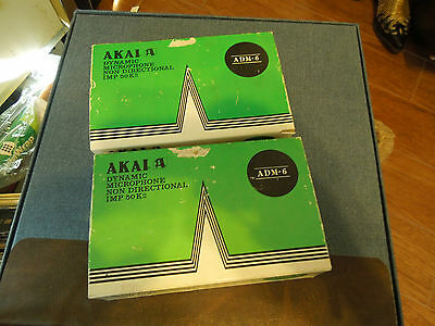 2 Vintage Akai Dynamic Microphones ADM-6 Original Boxes w/stands, made in Japan