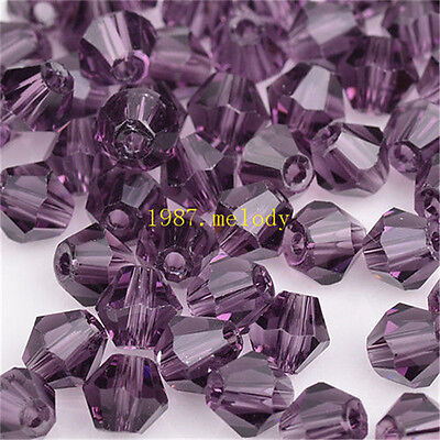 100pcs purple exquisite Glass Crystal 4mm #5301 Bicone Beads loose beads!