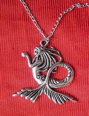 """1 pc vtg silver plated mermaid girl fish bead pendant charm necklace 20"""" gift."""