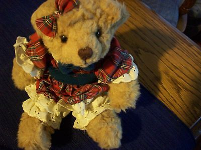 Beverly Bear by Russ  Red and Green Dress    10 Inch