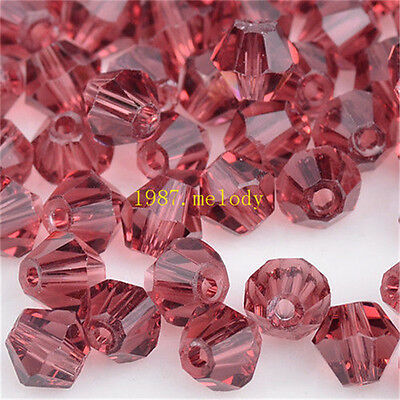 100pcs purple red exquisite Glass Crystal 4mm #5301 Bicone Beads loose beads!