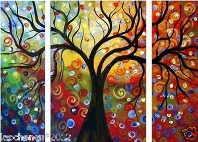3Pc Three pieces Large Wall Decor Modern Abstract art oil painting can(no frame)