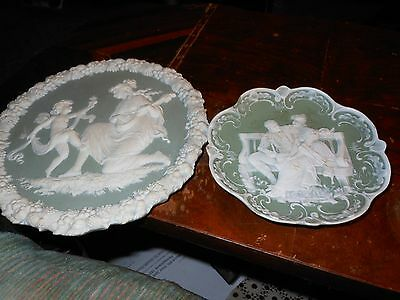 Antique Jasperware Green Cameo Dish/Wall Plate  With Cherub/Cupid & Lady