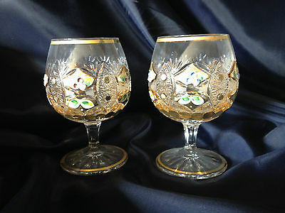 Czech Cut Bohemia Crystal Glass- Cut Brandy glasses decorated with gold -2pieces