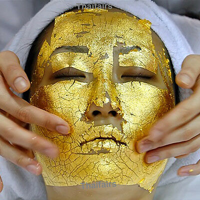 20 pcs 24K GOLD LEAF ANTI WRINKLE FACIAL FACE SPA MASK LIFTS AND FIRMS SKIN