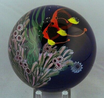 DAZZLING Magnum Justin LUNDBERG Two Red ANGEL FISH Glass PAPERWEIGHT