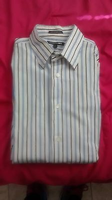 Express 1MX Fitted Stretch Cotton Mens Striped Long Sleeve Button Down Shirt L