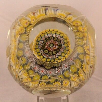 Rare MAGNUM Vintage CARTIER Crystal Glass MULTIFACETED Millefiori PAPERWEIGHT