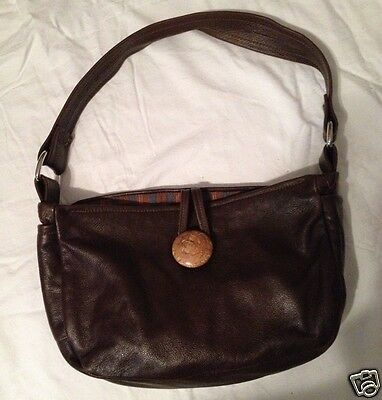 Fabulous Handmade Leather Shoulder bag with Burl wood Button closure!