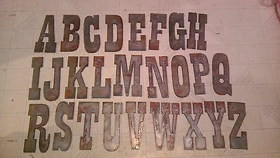 """COMPLETE ALPHABET 12"""" Rusty Metal Vintage Western Letters Stencil Sign Crafts"""