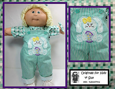 """Cabbage Patch DOLL CLOTHES ONLY/16"""" Girl """"Easter Bunny + Egg"""" Overall Outfit"""
