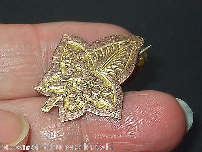 ANTIQUE VINTAGE VICTORIAN ART NOUVEAU ROSE GOLD FILLED IVY LEAF BROOCH PIN OLD