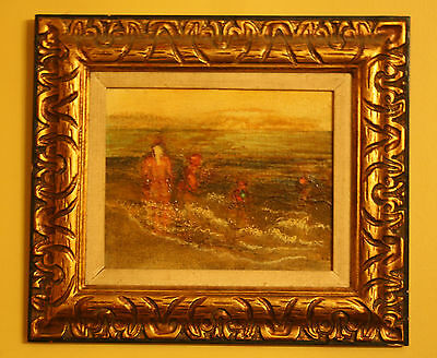 VINTAGE OIL ABSTRACT EXPRESSIONIST BEACH WITH WOMEN & CHILDREN CARVED FRAME