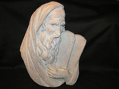 ARNOLD HENRY BERGIER BERGERE 1967 MOSES BUST TABLETS STATUE SCULPTURE SIGNED