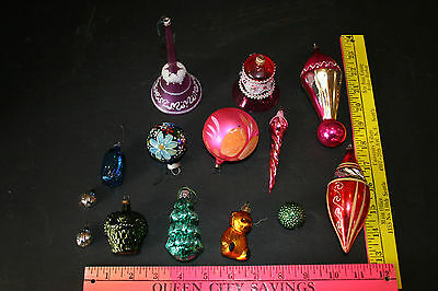 Fun Mix Lot Vtg 14 Shiny Brite  Shapes Glass Xmas Ornaments Bell Icicle Bear
