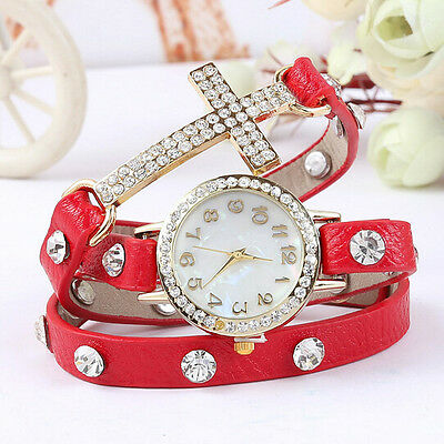 Red Fashion Cute Womens Ladies Girls Quartz Bracelet Leather Wrist Watch Gifts