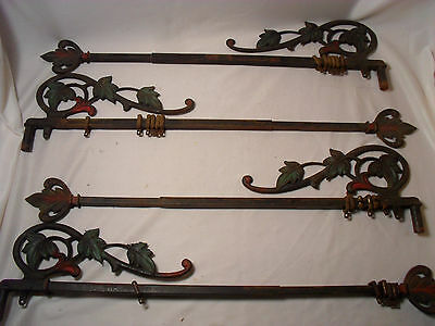 Antique Cast Iron Ornamental Black and Painted Curtain Rods Pair of 2