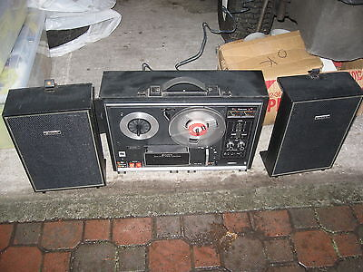 VINTAGE SONY TC-270 OPEN REEL TO REEL STEREO TAPE RECORDER PLAYER AMP SPEAKERS