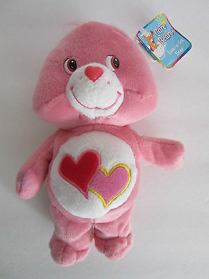 """9"""" Care Bear LOVE A LOT Valentine's Day PINK & RED Double HEARTS 2002"""