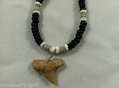 Shark Tooth Puka Shell & Black Coco beads Necklace 18 inch Surfer Shark Teeth