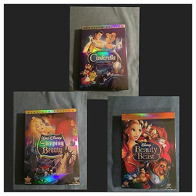 Disney DVD Cinderella Beauty And The Beast Sleeping Beauty