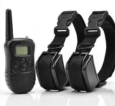 Rechargeable 300M LCD 100LV Shock & Vibra Remote Dog Training Collar for 2 Dogs