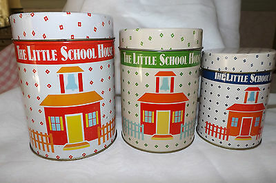 Vintage Set of 3 THE LITTLE SCHOOL HOUSE Storage Tins Canisters