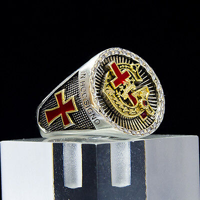 Unique Masonic Knights Templar  925 Sterling Silver with 18k Gold Ring