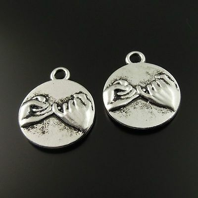 **20pcs Antique Style Silver Tone Alloy Pinky Swear Promise Pendant Charms 35358
