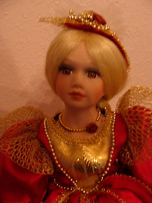 """16 1/2"""" PORCELAIN DOLL WITH VICTORIAN RENESSAINCE STYLE GOWN"""
