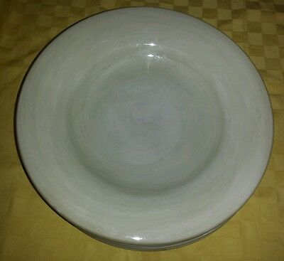 """Set of 4* TABLETOPS UNLIMITED ESPANA 11"""" PASTA BOWLS BEIGE HAND PAINTED"""
