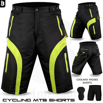 Mens Cycling MTB Shorts Cycle Bicycle Off Road With Padded Liner Short All Sizes