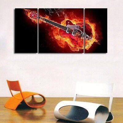"MODERN ABSTRACT LARGE OIL PAINTING ON ART CANVAS ""Guitar art""NO frame"