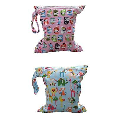 2x Lovely Zipper Baby Cloth Diaper Nappy Wet Dry Bag Swimer Tote Snap Handle