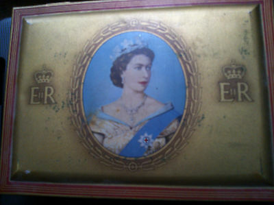 VINTAGE 1953 CORONATION CIGARETTE TIN WILL'S GOLD FLAKE SOUVENIR QUEEN ELIZABETH