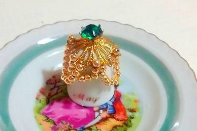 THIMBLE collection porcelain MAY Jewelry  green stone beads RARE UNIQUE