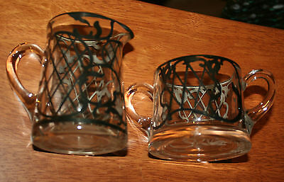 Lovely Vintage Silver Overlay on Glass Creamer and Sugar Bowl