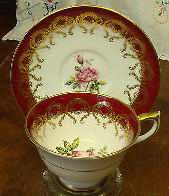 AYNSLEY FOOTED CUP & SAUCER SET RED BAND FILIGREE PINK ROSES