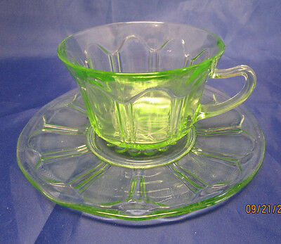 COLONIAL 'KNIFE AND FORK' GREEN CUP AND SAUCER BY HOCKING GLASS CO.
