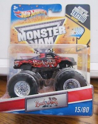 BARBARIAN #15/80 Monster jam Hot Wheels 2010 Rare Includes TATTOO
